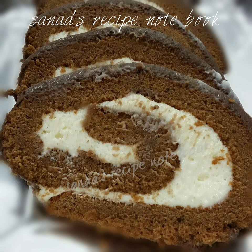 Chocolate Swiss Roll With Cream Cheese Filling - sanaa's recipe