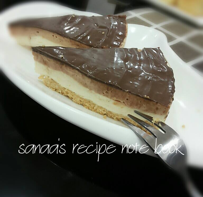 Double Layer Cheese Cake With Chocolate Truffle - sanaa's recipe