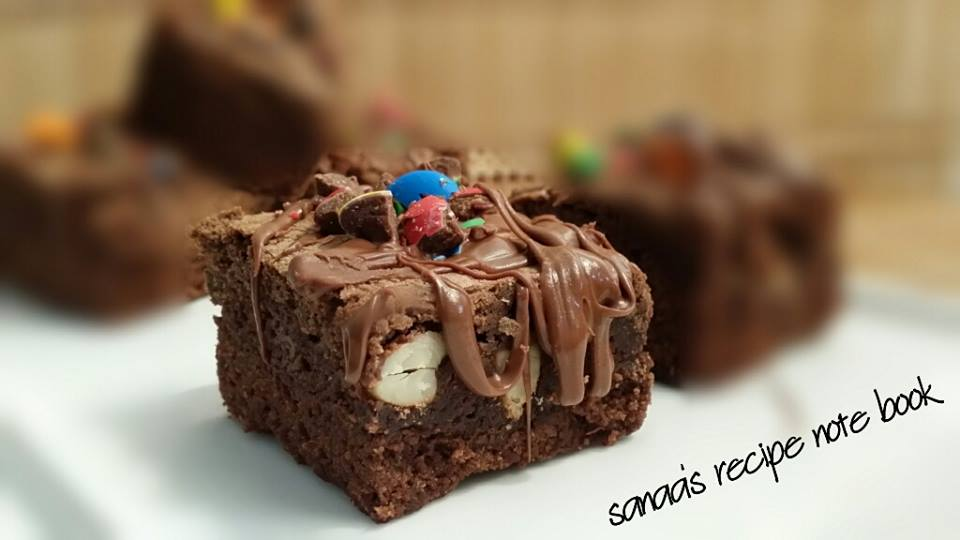 Nutty Chocolate Brownie With Nutella Frosting - sanaa's recipe