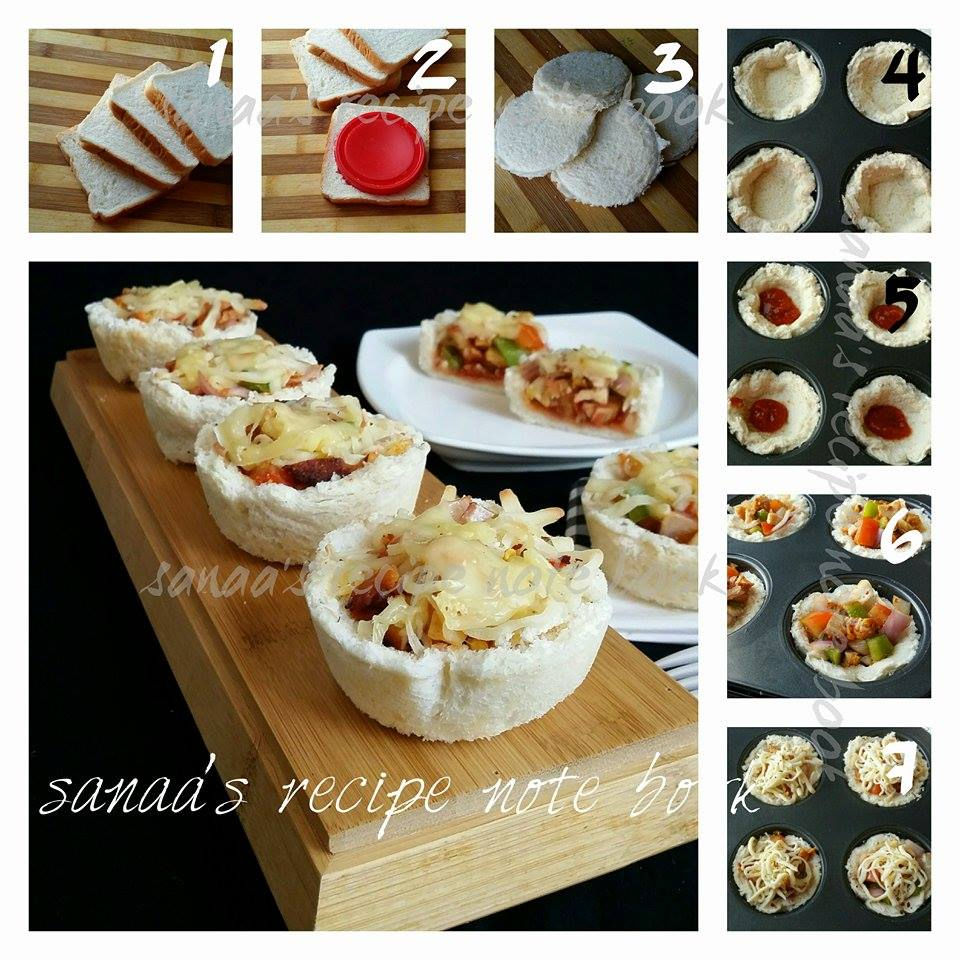 Bread Pizza Cups - sanaa's recipe