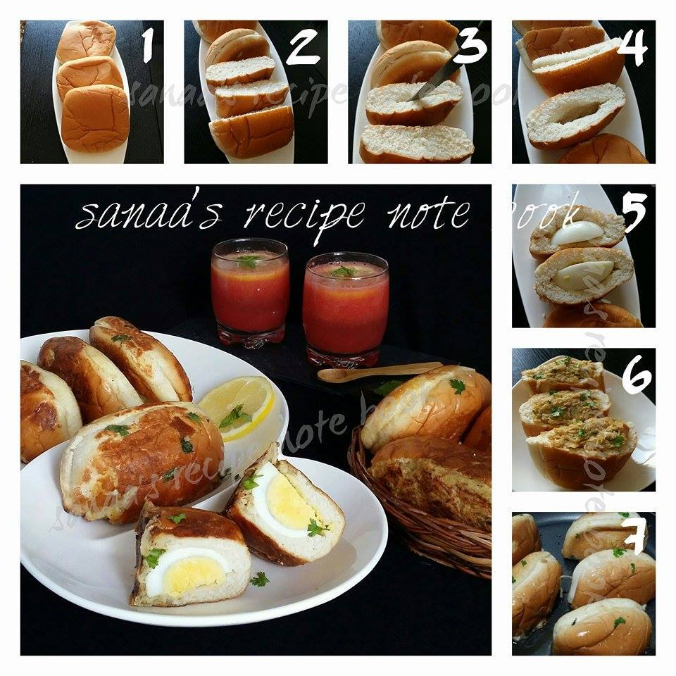 Chicken And Egg Stuffed Bun - sanaa's recipe