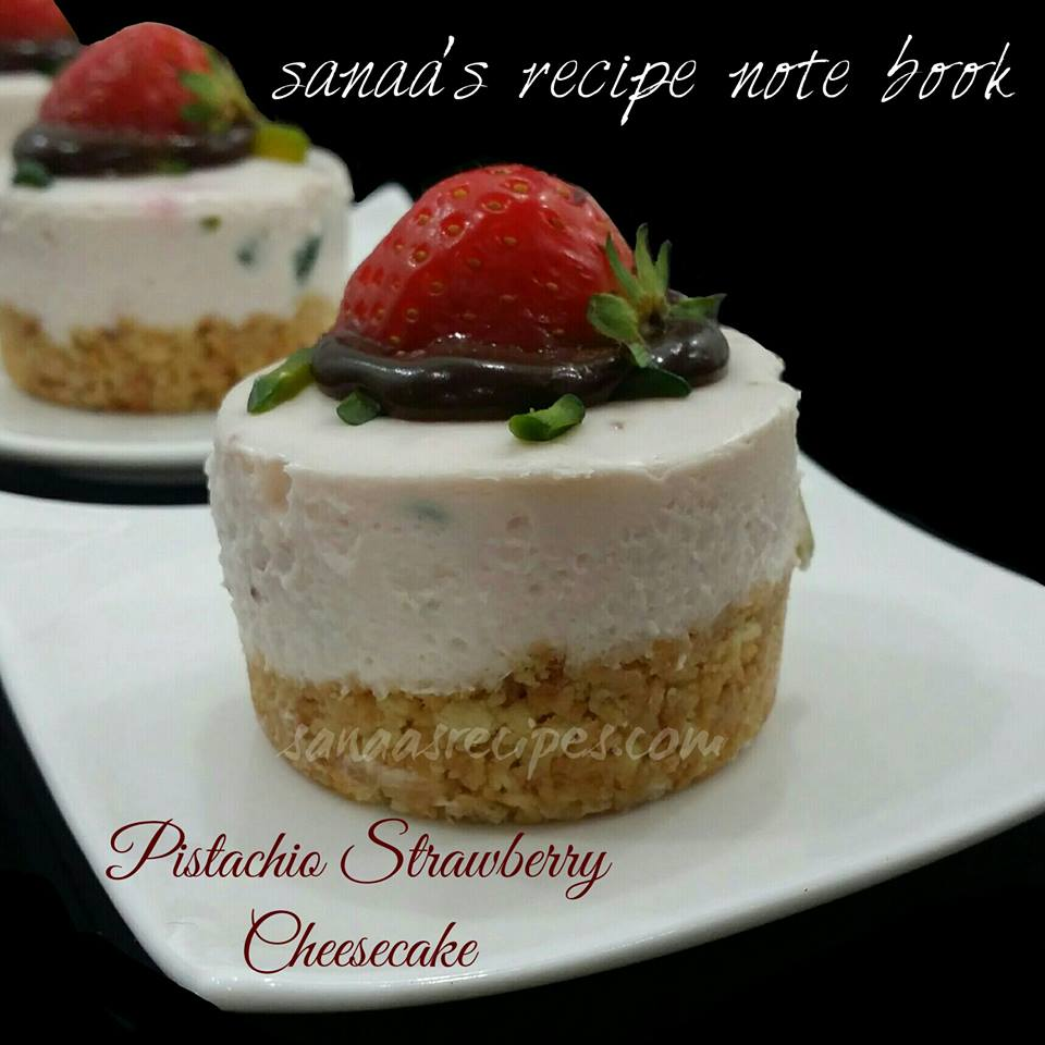 Pistachio Strawberry Cheesecake  - sanaa's recipe