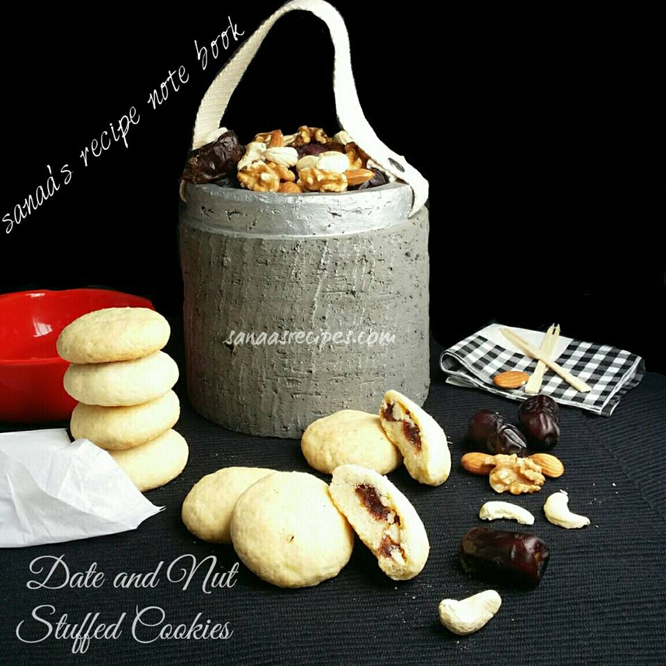 Date And Nut Stuffed Cookies - sanaa's recipe