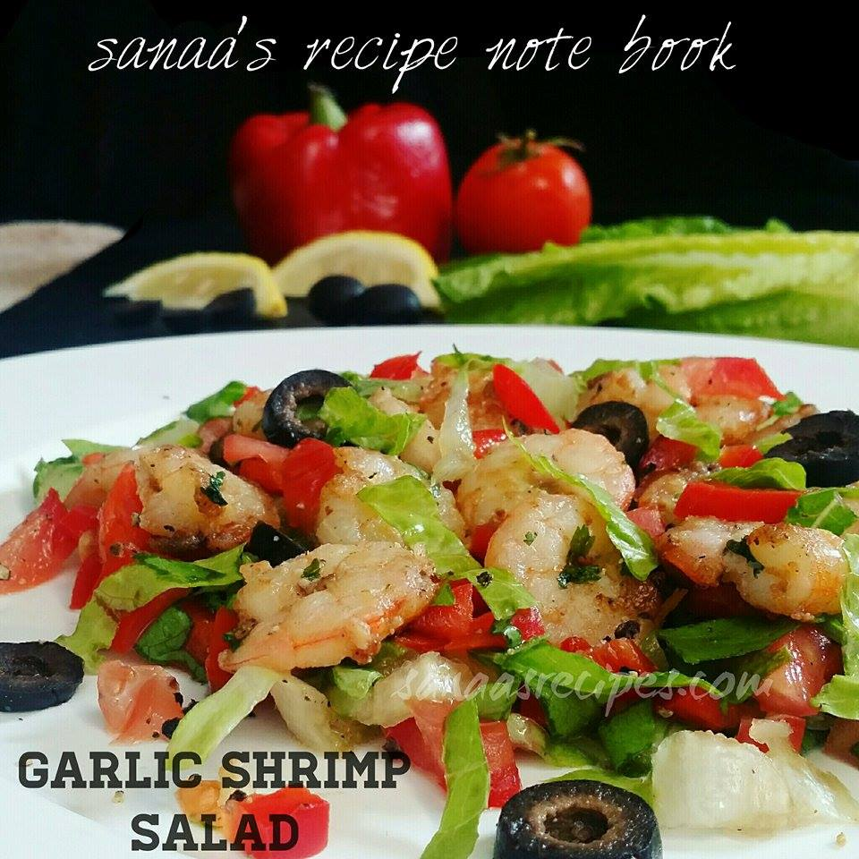 Garlic Shrimp Salad/ Garlic Prawn Salad - sanaa's recipe