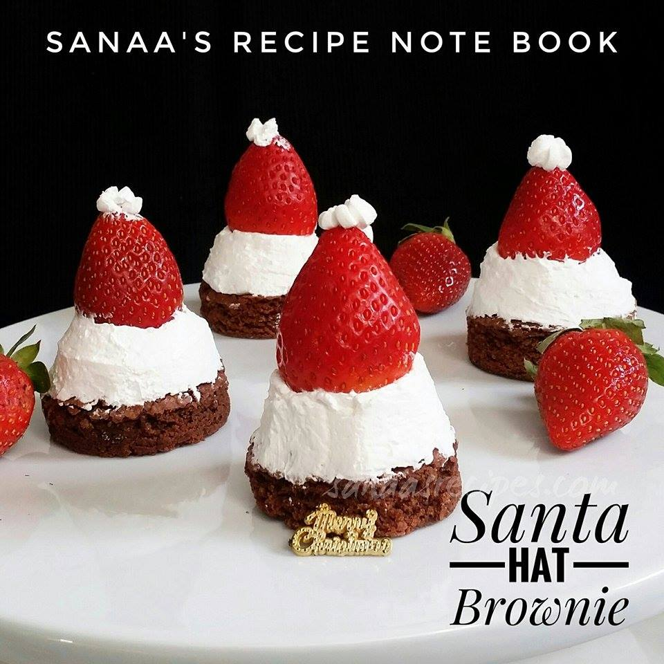 Santa Hat Brownie - sanaa's recipe