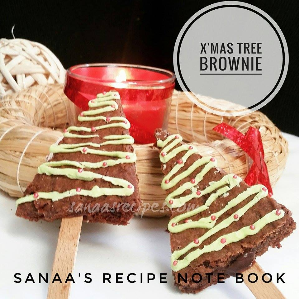 X'mas Tree Brownie - sanaa's recipe